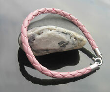 5 mm Colours Braided Leather Cord Bracelets with Sterling Silver Clasp and Ends