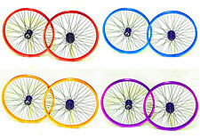 """bmx 9T Microdrive Wheels 20"""" Pair front + rear 9 tooth micro drive, Purple, Blue"""