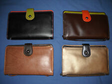 New ILI Lthr Multi Compartment Crossbody Clutch Wallet Handbag - 4 Color Combos