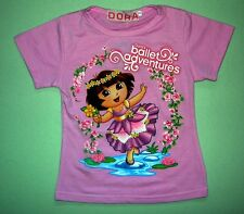 New DORA THE EXPLORER Girls Cotton Top/T-Shirt Size 1,2,3,4,5,6