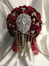 Brooch bouquet deep red ,gold, silver Asian wedding style bridal collection