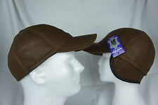 Cognac Brown 100% Shearling Leather Baseball Hat Trucker Biker Visor M-L, XL-2XL