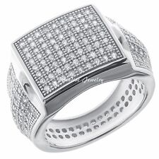 Men's Silver XXL Halo CZ Vintage Style Engagement Pinky Eternity Band Ring