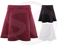 WOMENS LADIES QUILTED PADDED WAIST PLEATED SKATER DRESS MINI FLARED SKIRT