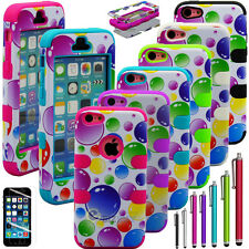 Colorful Heavy Duty Hybrid Rugged Hard Case Cover For iPhone 5C C+ Stylus + Film
