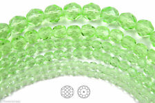"""Czech Fire Polished Round Faceted Beads in Chrysolite color, 16"""" strand"""