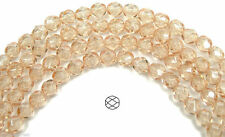 "Czech Fire Polished Round Faceted Beads in Crystal Champagne coated, 16"" strand"