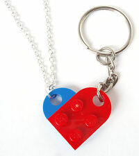 HIS & HERS Heart Necklace & Keyring made with LEGO bricks Mr Mrs love Valentines
