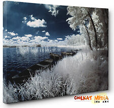 Landscape Canvas Art Wall Print Blue Lake and Boats Large Abstract a1 a2