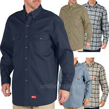 Dickies Shirts Mens Flame Resistant Long Sleeve Twill FR Shirt Color or Plaid