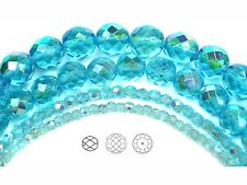 """Czech Fire Polished Round Faceted Beads in Aqua AB coated, 16"""" strand"""