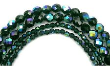 "Czech Fire Polished Round Faceted Beads in Emerald AB coated, 16"" strand, green"