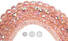 """Czech Fire Polished Round Faceted Beads in Rosaline AB coated, 16"""" strand"""