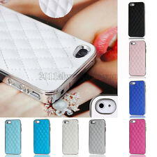 Luxury Quilted Leather Chrome Bumper Hard Back Case Cover For iPhone 5 5G 5Gs 5S