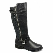 Spot On Womens Ladies Faux Leather Calf Length Zip Twin Buckle Biker Boots Black