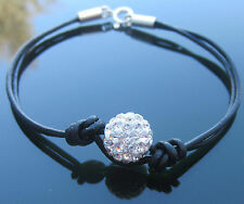 Black Leather Cord Bracelet with Sterling Silver Ends and Clasp with Crystal