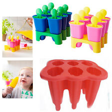 6* Ice Lolly Maker Mould Pop Popsicle Lollies Ice Cream Freeze Tray Kids