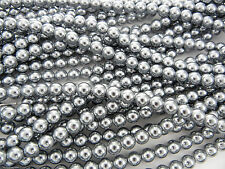 Czech Round Glass Imitation loose Pearls, Silver Grey nacre pearl color
