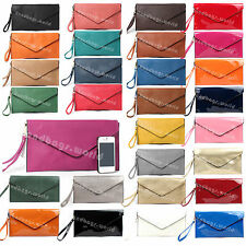 New Ladies Large Leather Style Envelope Evening Clutch Bag Women Wedding Purse