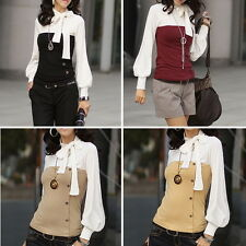 2013 New Women OL Bowknot Lantern Sleeve Long Sleeve Shirt Blouse Tops M2030