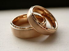 TUNGSTEN CARBIDE ROSE GOLD PLATED HIS & HER WEDDING BAND RING SET 8&6MM SZ 5-15