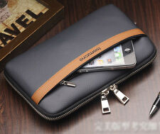 Men's Genuine Leather Casual Clutch Bag Handbag Zipper Wallet Phone Holder NEW