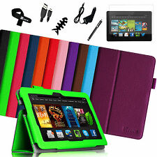 "2013 Kindle Fire HDX 7 7.0"" Inch Folio Leather Case Smart Cover/Pen/Film/Charger"