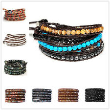 Natural Agate Turquoise Coral Tiger Eye Genuine Leather 5 Wraps Beaded Bracelet