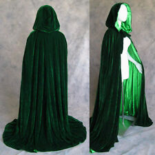New Halloween Lined Dk Green Velvet Cloak Cape Wedding Wicca LOTR SCA S-XXL