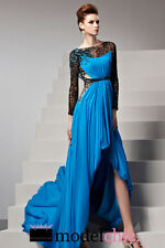 Blue High Low Lace Sleeves Evening Prom Bridesmaid Ball Wedding Gown Maxi Dress