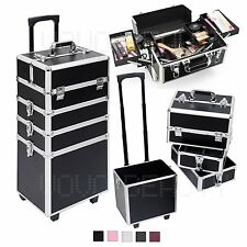 Large 4 in 1 Hairdressing Makeup Vanity Case Beauty Cosmetics Box Trolley