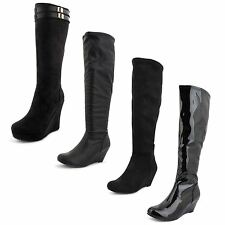 New Ladies Wedge Heel Knee High Fashion Faux Leather Long Boots UK Sizes 3-8