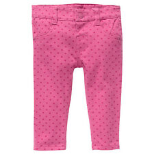 Baby Girls New With Tags Berry Pink Hearts Stretch Jeans/Pants - Size 3-18 Mths