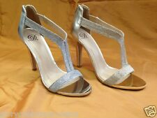 NEW DELICIOUS Varad Ladies Women Gold Silver glitter mesh Tstrap high dress heel