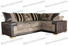 Brand New Infinity Sofa - 3 & 2 Seater - Beige Cord and Brown Faux Leather