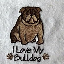 Bulldog Dog Embroidered Towels