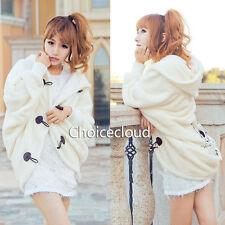 Womens Girls Cute Hooded Polartec Beloro Shrug Poncho Batwing Top Coat Outerwear