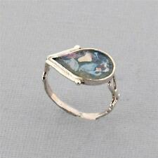 Teardrop Shaped Ancient Roman Glass Oxidized Sterling Silver Ring Blue Green