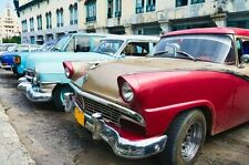 "Wall Mural ""Street Scene with Old Cars, Cuba"" Discounted Picture"