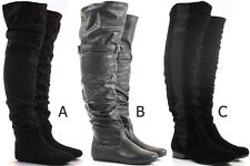 Womens Thigh High Over the Knee Winter Biker Style Low Flat Heel Knee Boots Size