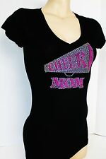 RHINESTONE / STUD  NEON CHEER MOM  JUNIOR SHEER V NECK SHIRT NEW