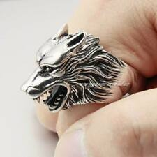 Werewolf Grinning 316L Stainless Steel Wolf Ring 2P001XG Mens Biker Ring