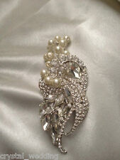 Crystal pearl vintage style buttonhole corsage alternative  wedding flowers