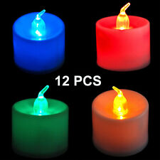 12 X LED Battery Operated Flickering Flameless Tealight Candles Unscented