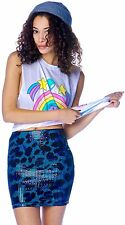"IRON FIST LADIES ""WATER CAT"" SEQUINNED MINI SKIRT - LEOPARD BLUE (B7B)"