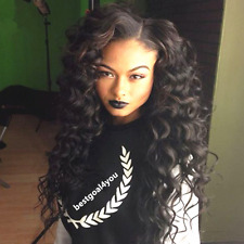 "8""-22"" Deep Wave Lace Front Wig -100% Remy Human Hair 1#1b#2#4#1b/30# cheap"