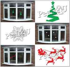 Christmas Tree, Santa's Sleigh, Snowflake Xmas Window Cling Decorations Fast P&P