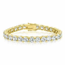 Gold Plated Cubic Zirconia Tennis Bracelet 6mm Round White CZ