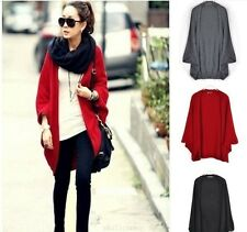 Women Loose Knitted Outwear Cardigan Shawl Oversized Batwing Sleeve Sweater