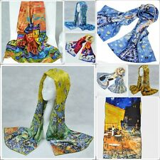 Oblong 100% Charmeuse Silk Scarf Shawl Wrap Art Oil Painting Print with Gift Box